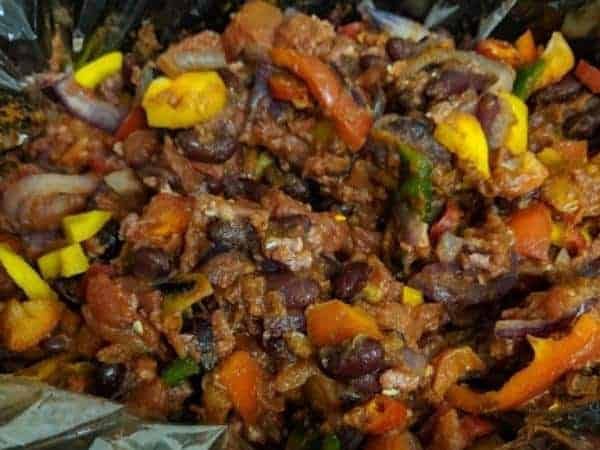 Slimming World slow cooker chilli in slow cooker with slow cooker liner being used