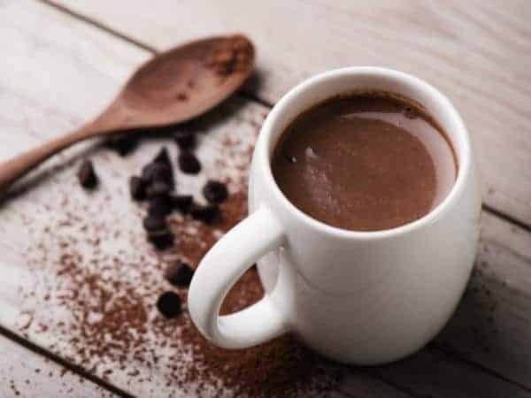 slow cooker hot chocolate in a mug